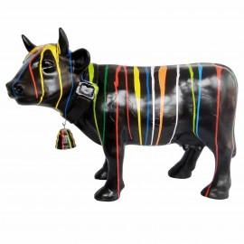 Statue en résine vache multicolore fond noir avec cloche 85 cm