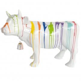 Statue en résine vache multicolore fond blanc avec cloche 85 cm