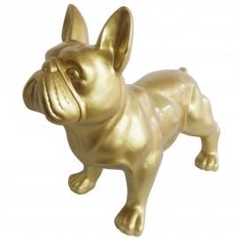 Statue chien bouledogue Français en résine dorée 85 cm