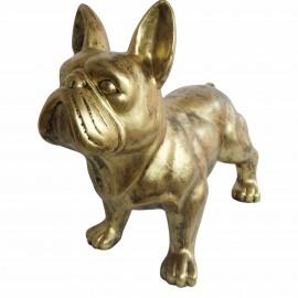 Statue chien bouledogue Français en résine dorée antique 85 cm