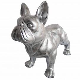 Statue chien bouledogue Français en résine patine acier 85 cm