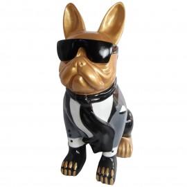 Statue chien bouledogue Français à lunette et costume - 80 cm