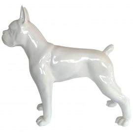 Statue chien boxer blanc en résine - 105 cm