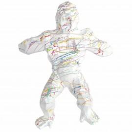 Statue origami en résine gorille singe méchant splash fond blanc 80 cm