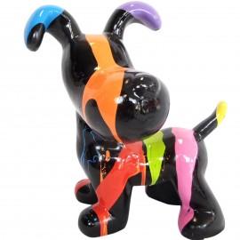 Statue en résine chien snoopy debout multicolore multicolore fond noir - 27 cm