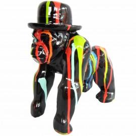 statue en résine singe gorille multicolore fond noir en origami - 25 cm