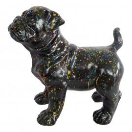 Statue en résine CHIEN carlin multicolore fond noir - 25 cm