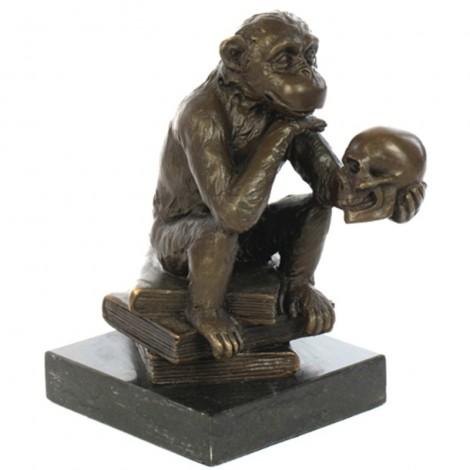 Statue SINGE à la tête de mort en bronze - 14.5 cm