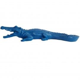 Statue en résine crocodile bleu gueule ouverte - 70 cm