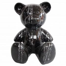 Statue Ours multicolore en résine noir et argent - 35 cm