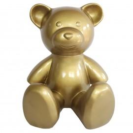 Statue Ours multicolore en résine dorée - 35 cm