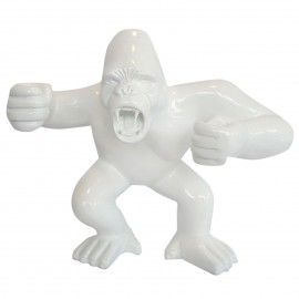 Statue en résine gorille singe agressif blanc 36 cm