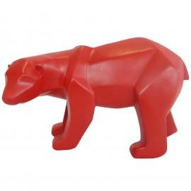Statue ours debout en origami rouge tête tournée - 25 cm