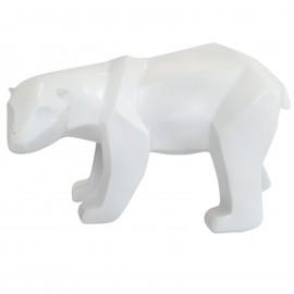 Statue ours debout en origami blanc tête tournée - 25 cm
