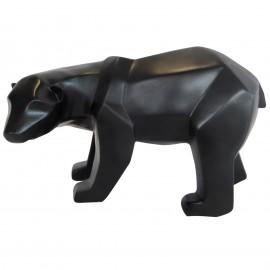 Statue ours debout en origami noir tête tournée - 25 cm