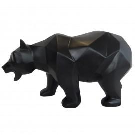 Statue ours en origami noir gueule ouverte - 25 cm