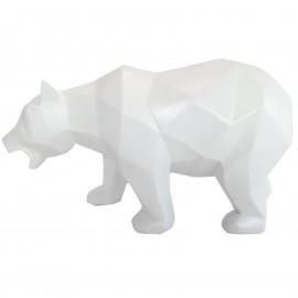 Statue ours en origami blanc gueule ouverte - 25 cm