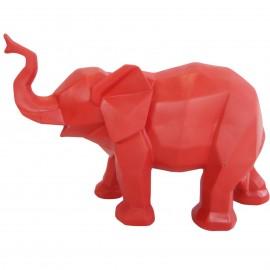 Statue éléphant en origami rouge trompe levée - 27 cm