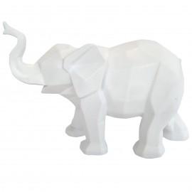 Statue éléphant en origami blanc trompe levée - 27 cm