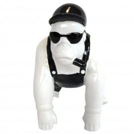 Statue en faïence gorille au cigare hauteur 18 cm