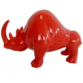 Statue en faïence rhinocéros rouge longueur 30 cm