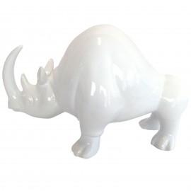 Statue en faïence rhinocéros blanc longueur 30 cm