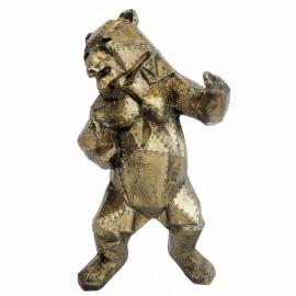 Statue ours debout en origami patine dorée antique - 46 cm