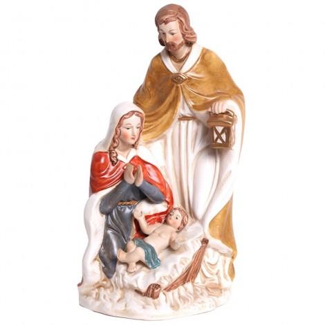 STATUE la sainte famille en porcelaine polychrome - 26 cm