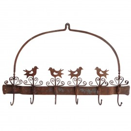 Porte serviettes torchons en fer ustensiles motifs oiseaux 61 cm