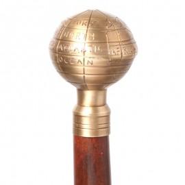 CANNE de marche pommeau mappemonde doré - 93 cm