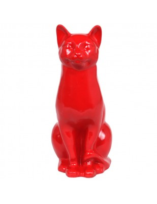 Statue en résine CHAT rouge - 40 cm