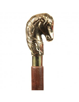 CANNE de marche pommeau courbé tête de cheval-dorée - 96 cm