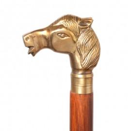 CANNE de marche pommeau. tête de cheval-antique - 93 cm