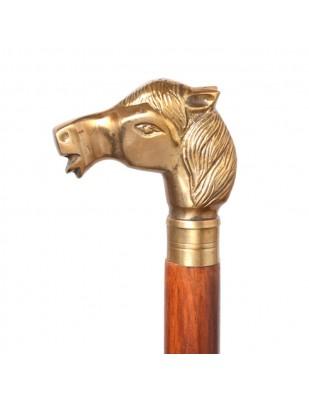 CANNE de marche pommeau tête de cheval-antique - 93 cm