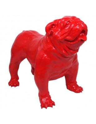 Statue en résine CHIEN bouledogue anglais rouge - 90 cm