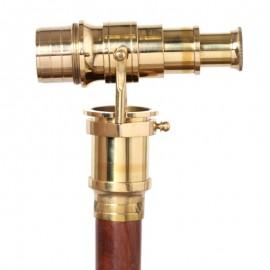 CANNE de marche à système pommeau longue vue dorée - 96 cm