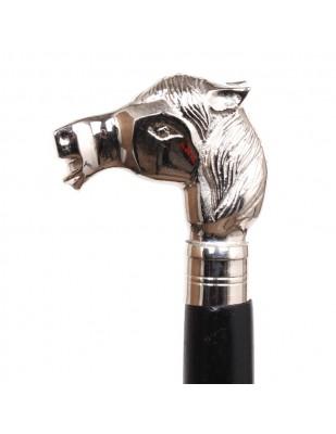 CANNE de marche pommeau chromé tête de cheval-antique - 94 cm