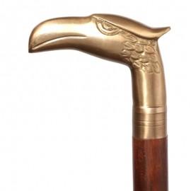 CANNE de marche, pommeau tête d'aigle-antique - 93 cm
